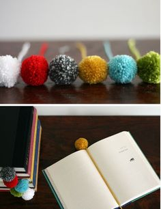 Yarn Ball Bookmarks. Ok, these aren't knitted, but I have oodles of yarn with which to make them.