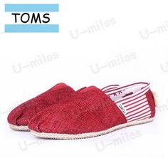 Toms Cordones Women Canvas Red Split Joint Stripe