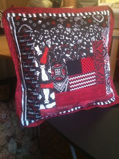 Black & red pillow to match quilt for my grand daughter. Picture of quilt will follow.
