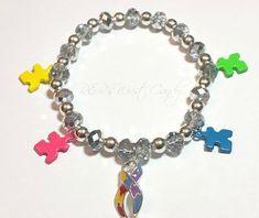 Autism Awareness Beaded Bracelet, Charm Bracelet, Austim Support Bracelet, Stretchy, Ribbon,Handmade, Custom, Beaded Jewelry