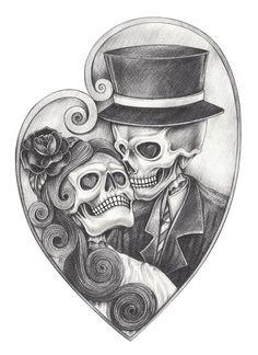Art Skull Day Dead Hand Drawing Stock Illustration 148662632 Skull in love day . - Art Skull Day Dead Hand Drawing Stock Illustration 148662632 Skull in love day … Art Skull Day - Hand Pencil Drawing, Pencil Drawings, Tattoo Drawings On Paper, Skull Couple Tattoo, Day Of The Dead Artwork, Day Of The Dead Drawing, Day Of The Dead Skull, Arte Lowrider, Skull Coloring Pages