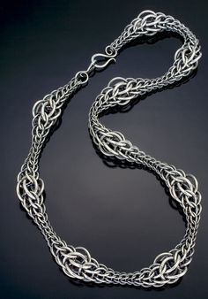 "Julia Lowther, Jeweler - Flying Fox Jewelry - A Caress of Armor -- Persian Wave Necklace in sterling silver -   18"" x ½"" x ½"" -   $ 521"