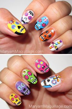 Sugar Skulls Nail Art to match my sugar skull makeup: http://www.maryammaquillage.com/2012/10/dia-de-los-muertos-sugar-sculls.html