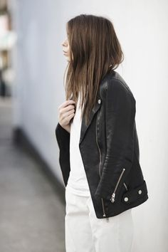 Black leather jacket + white outfit