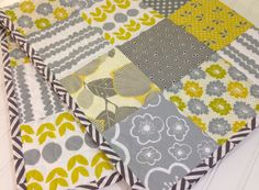 Citron & Slate Modern Baby Quilt Toddler Quilt Crib by MamaRoux, $135.00