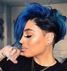 56 Gorgeous Light Blue Hairstyles for Black Women New Natural Hairstyles Light Blue Mohawk Short Blue Hair, Short Hair Cuts, Edgy Short Hair, Edgy Pixie, Curly Short, Edgy Hair, Pixie Cut, Curly Hair Styles, Natural Hair Styles