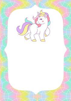 Invitaciones de unicornio para imprimir Free Birthday Invitations, Unicorn Birthday Invitations, Birthday Clipart, Unicorn Birthday Parties, Happy Birthday Cards, Baby Birthday, Unicorn Images, Unicorn Pictures, Bday Background