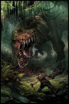 Turok T-Rex concept art Prehistoric World, Prehistoric Creatures, Fantasy Monster, Monster Art, Fantasy Creatures, Mythical Creatures, Comic Cover, Dinosaur Pictures, Jurassic Park World