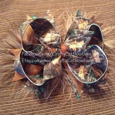 Camo stacked boutique hair bow, camouflage OTT bow with feathers on headband or clip