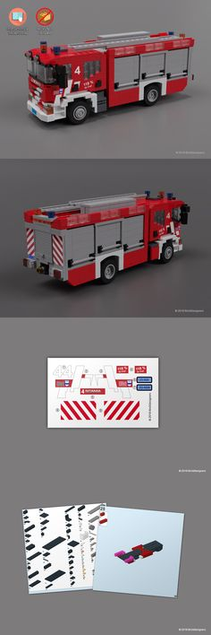 LEGO Instruction Manuals Custom Stickers And Instructions To Build A Lego Scania Fire Engine Lego City Fire, Lego Fire, Lego Moc, Lego Minecraft, Lego Lego, Lego Truck, Amazing Lego Creations, Lego City Sets, Lego People