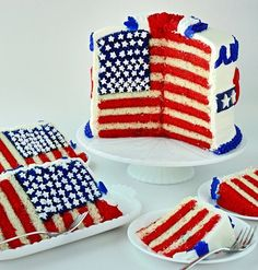 It doesn't get any cooler than this amazing American flag 4th of July cake!