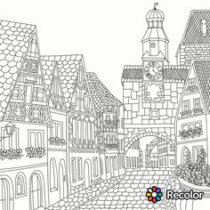 Architecture Coloring Page Adult PagesColoring
