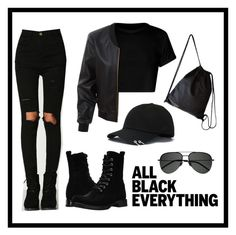 """""""Untitled #55"""" by army06 ❤ liked on Polyvore featuring LE3NO, Frye, Yves Saint Laurent and allblackoutfit"""
