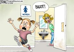 Transgender bathrooms rights over everyone else's rights to safety and privacy. Political Cartoon by A.F.Branco ©2016