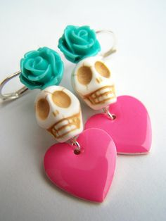 Heart Jewelry Anti Valentine's Day earrings Day of the Dead Skulls & Roses by polishedtwo, $12.00