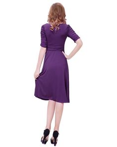 Purple Chiffon Bowknot Sleeve Flare Midi Dress, Purple, GYALWANA | VIPme