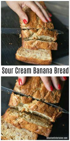 BEST Sour Cream Banana Bread Recipe #ReluctantEntertainer #bananabread #breakfast #brunch