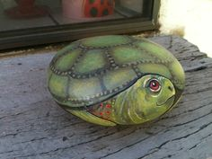 Turtle painted on a rock makes a nice gift