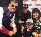 """[self] Cassidy from """"Preacher"""" (the intro scene where he is the casino dealer/bartender on the plane) with fam and Sarah Wayne Callies at Walker Stalker Nashville 2017."""