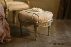 Have a seat! Made a nice combination of a chair and matching footstool in french inspired design in serene colors with a touch of light blue. #dollhouse #dollhouseminiatures #dollshouse #miniaturefurniture #montheron