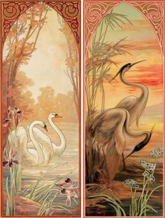 artnouveaustyle:  Swan & Heron Panels by Mary Golay, 1905.