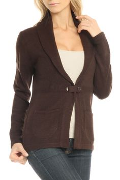 contact Shawl Collar Single Button Cardigan In Hot Chocolate -