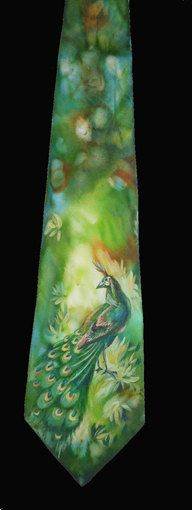 Exclusive Gift for MEN'S Hand painted men silk necktie Peacock green and blue colors  FREE SHIPPING. $120.00, via Etsy.