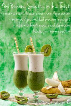 Kiwi Banana Smoothie with a Twist. Kiwi Banana Smoothie with a Twist- This smoothie is perfect for a hot summer day! Super refreshing healthy & looks amazing! Kiwi Smoothie, Yummy Smoothies, Smoothie Drinks, Smoothie Recipes, Juicer Recipes, Smoothie Cleanse, Green Smoothies, Juice Cleanse, Detox Drinks