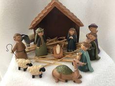 Vintage Blossom Bucket 12 Pc Nativity Set Holy Family Wisemen Manger Animals   eBay
