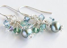 Seafoam Cluster Earrings with Freshwater Pearls by OpheliasJewels, $20.00