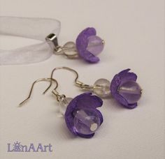 Violet flowers jewelry set  pendant and silver hooks by LanAArt