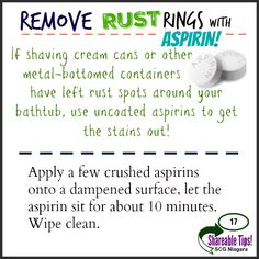 SHAREABLE Tip #17 - Remove RUST RINGS with ASPIRIN!