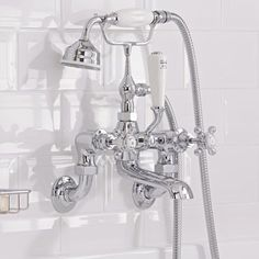 Enhance your traditional bathroom with the Topaz white and chrome wall mounted bath shower mixer tap Bathroom Shop, Bathroom Taps, Small Bathroom, Bathroom Ideas, Bath Shower Mixer Taps, Shower Faucet, Cheap Bathrooms, Amazing Bathrooms, Wall Taps