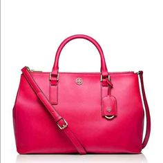 """Tory Burch Robinson Double Zip The color is called """"carnival"""". It is very unique...like a cross between red and hot pink. I love it! It's just a little big for me. Lightly worn, do not have the key ring fob Tory Burch Bags"""