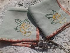 www.sophieladydeparis.etsy.com 2 Linen Hand Embroidered  #Green Tea napkins. Size : 10   x 10  in. = 25.5 x 25.5 cm France is a big linen producer. Original linen embroideri... #antiquelinens #victorianclothing #sophieladydeparis #vintageclothing #antiquebabyclothing
