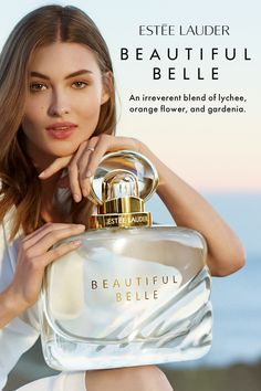 Dazzle down the aisle with Beautiful Belle. Try Estée Lauder's newest fragrance, a sparkling blend of lychee, orange flower, gardenia and marzipan musk. Available now in-store and online. Musk Perfume, Blue Perfume, Perfume Oils, Avon Perfume, Perfume Adverts, Perfume Good Girl, Perfume Hermes, Estee Lauder Beautiful, Cosmetics & Perfume