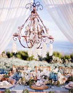 Seashell Chandelier and Opulent Beach Formal Event Wedding Design | Photography: Tim Halberg