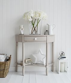 The Oxford grey half moon console table with drawer and shelf, perfect for a home where there is little space