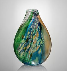 Aquos Flat by Randi Solin: Art Glass Vessel available at www.artfulhome.com
