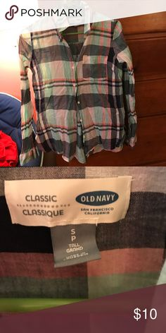 Flannel Old navy multi colored flannel. Very lightweight and comfortable Tops Button Down Shirts
