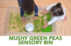 Green peas are not only fun to eat they also make a fun sensory bin filler! Here is a great taste safe sensory bin for babies, toddlers & preschoolers! Baby Sensory Play, Sensory Wall, Sensory Rooms, Sensory Bins, Sensory Boards, Sensory Bottles, Gross Motor Activities, Sensory Activities, Infant Activities