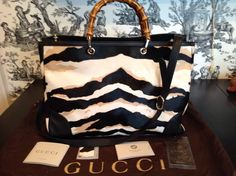 Look what I just listed!  Gorgeous!!!  Auth Gucci Large Bamboo Handle Shopper Tote Handbag Calf Hair Tiger Print NWT  #Gucci #TotesShoppers Under eBay camps21