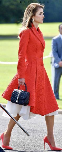 Queen Rania red dress coat