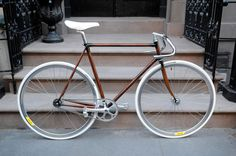 Hand Painted Faux Woodgrain Bike Frame (seen on the etsy blog)