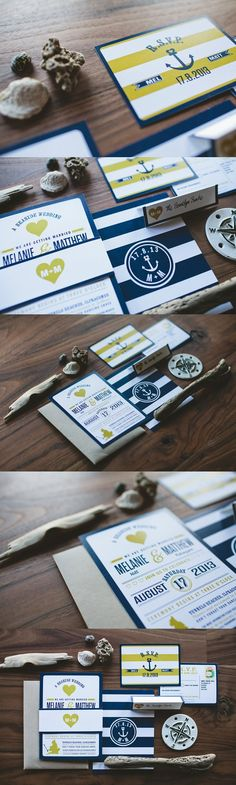 Nautical Anchor Wedding Invitation | Navy and Gold