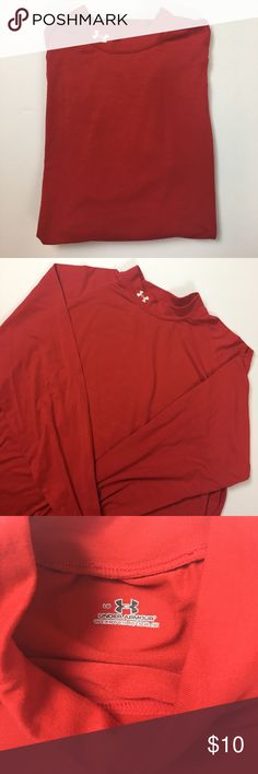 Men's Long Sleeve Under Armour Size large, long sleeve red turtleneck. Imperfection on sleeve as shown (this has been laundered but I haven't stain removed yet so I will try to get it out before shipping). Machine washable, poly elastane mix. Under Armour Shirts Tees - Long Sleeve