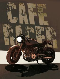 """Cafe Racer Stickers   Cafe racer"""" Drawing art prints and posters by Andrea Minoja ..."""