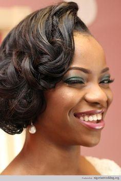 Gorgeous Nigerian wedding hairstyles & make up by Kemi Kings! #weddings #bridalhairstyles