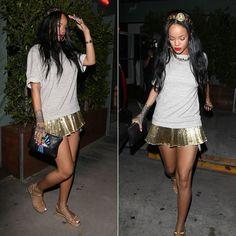 Rihanna wearing Dolce & Gabanna gold coin headband, Christian Louboutin Cataclou studded platform espadrille, Jacquie Aiche clutch.