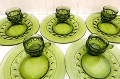 Vintage Indiana Glass King's Crown Snack Plates Set by TimelessTreasuresbyM on Etsy Antique Dishes, Antique Glass, Green Bubble, Bridal Luncheon, Kings Crown, Indiana Glass, Cupping Set, Glass Collection, Plate Sets